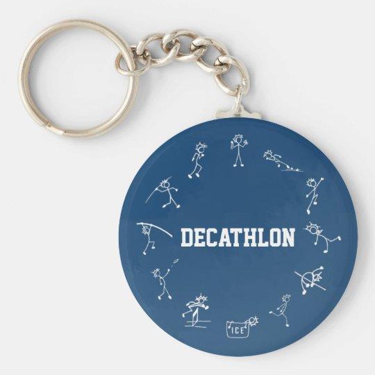 Decathlon Stickman Track and Field Athletics Blue Basic Round Button Key Ring