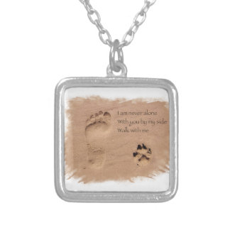 Deceased dog in loving memory footprints in sand silver plated necklace