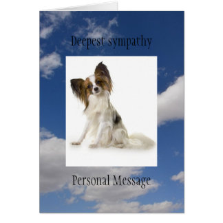 Deceased dog in loving memory Papillon breed Note Card