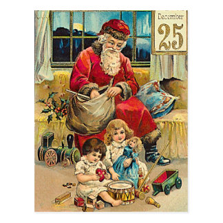 December25th - vintage christmas greeting  card postcard