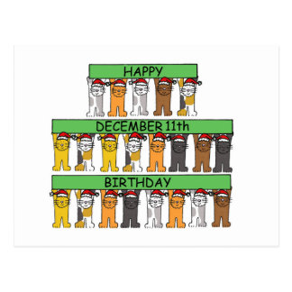 December 11th Birthdays celebrated by cats. Postcard