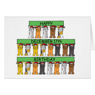 December 17th Birthdays celebrated by cats. Greeting Card