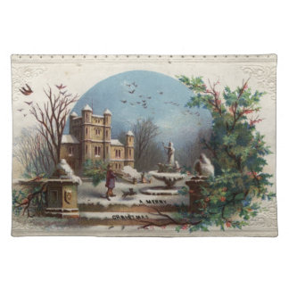 December 1872: The gardener collects holly Placemat