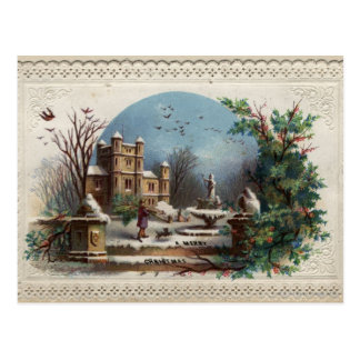 December 1872: The gardener collects holly Postcard