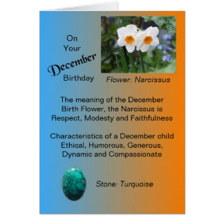 December Birthday Card - Narcissus and Turquoise