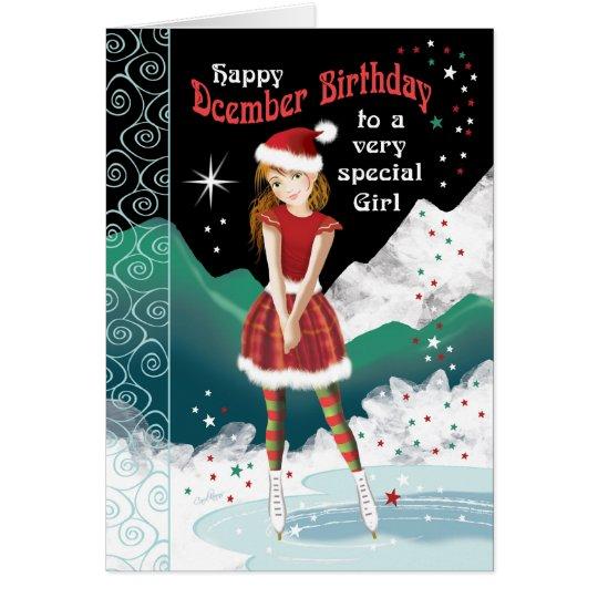 December Birthday, Girl on Ice-Skates Card