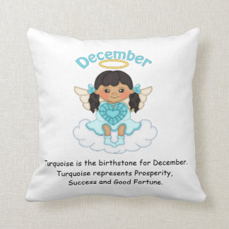 December Birthstone Angel Black Throw Pillows