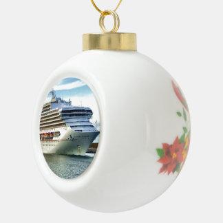 December Bow Ceramic Ball Christmas Ornament