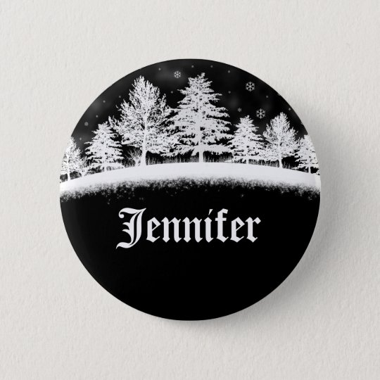 December Company Party Name Tags Black 6 Cm Round Badge