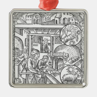 December, from the 'Almanach des Bergers', 1491 Silver-Colored Square Decoration