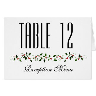 December Holiday Wedding Menu and Table Number Note Card
