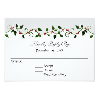 December Holiday Wedding RSVP Reply Response Card