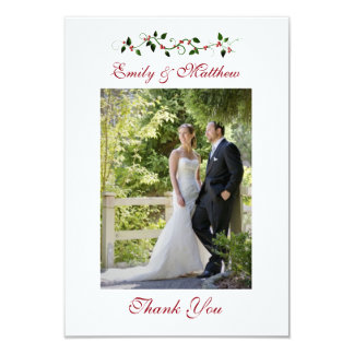 December Holiday Wedding Thank You Flat Photo Card