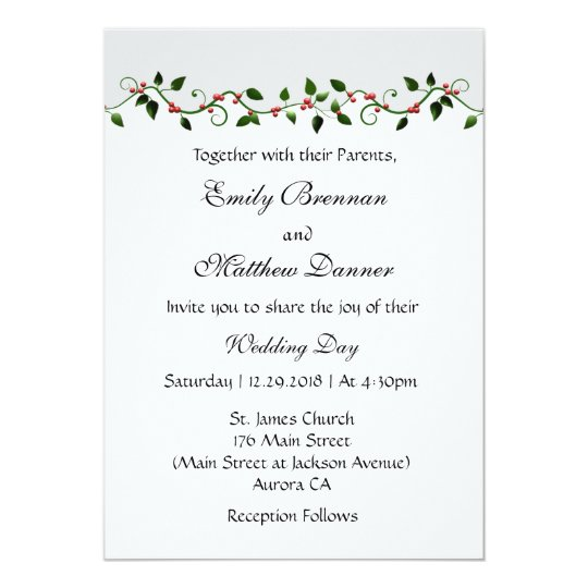 December Holiday Winter Wedding Casual Invitation