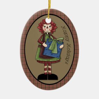 "December Raggedy Ann ""Happy Holidays"" Ornament"