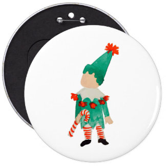 December Toddler Child Christmas Elf 6 Cm Round Badge