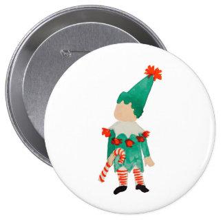December Toddler Child Christmas Elf 10 Cm Round Badge
