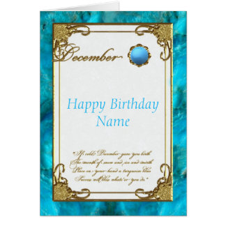 December Turquoise Birthstone Birthday Card