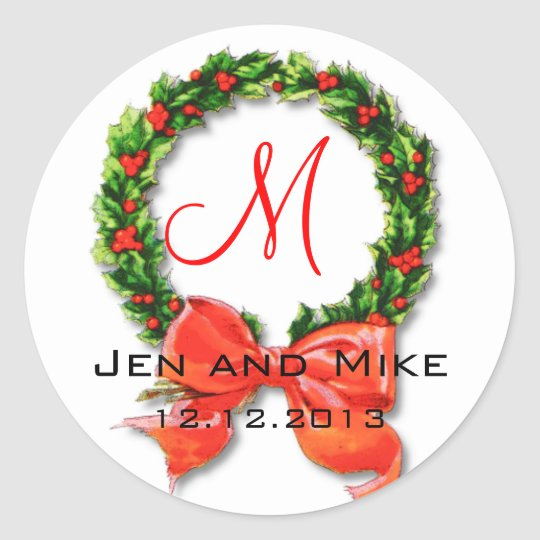 December Wedding Monogram M Sticker