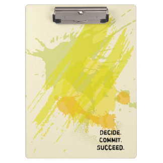 Decide. Commit. Succeed. Motivational Quote Clipboard