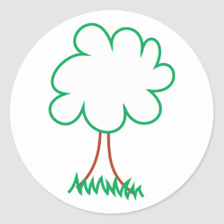 Deciduous Tree Round Sticker