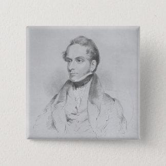 Decimus Burton, lithograph by Maxim Gauci 15 Cm Square Badge