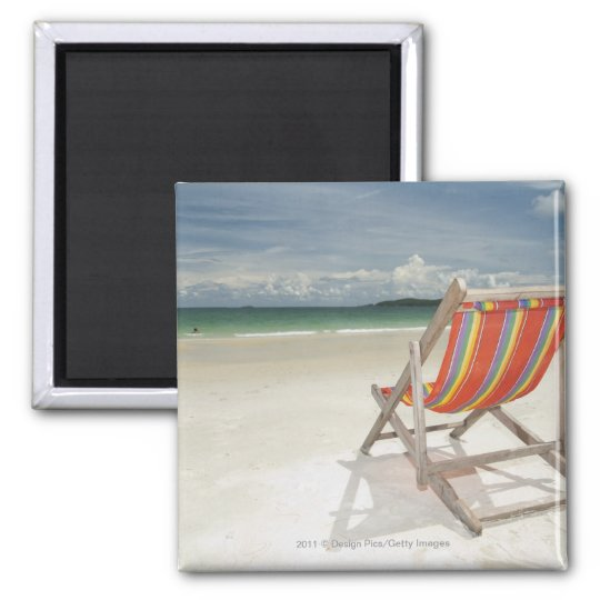 Deck Chair On The White Sand Of Samui Beach Square Magnet
