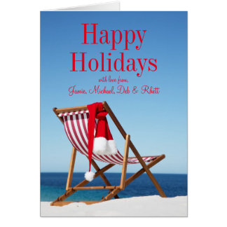 Deck Chair with Santa hat Card