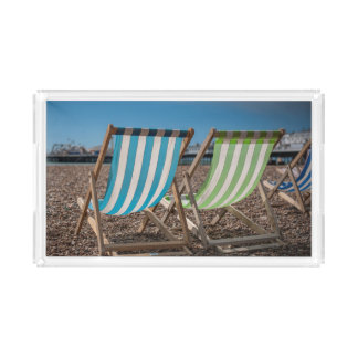 Deck Chairs Looking At The Sea Acrylic Tray