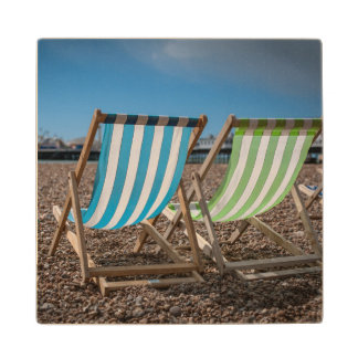 Deck Chairs Looking At The Sea Maple Wood Coaster