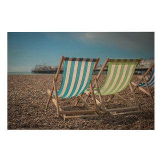Deck Chairs Looking At The Sea Wood Wall Decor