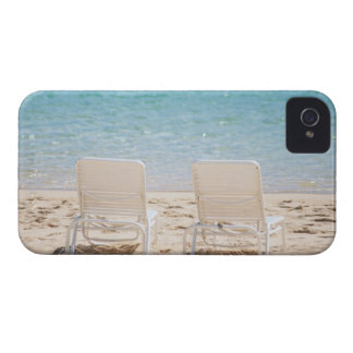 Deck chairs on sandy beach iPhone 4 Case-Mate case