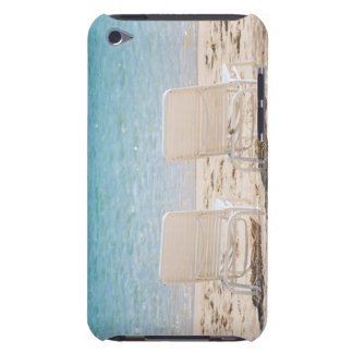 Deck chairs on sandy beach iPod touch case