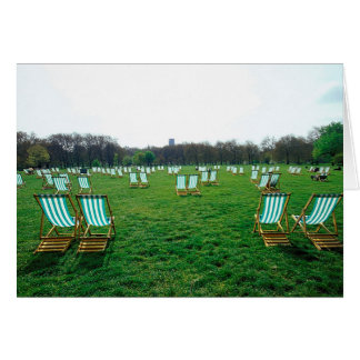 Deck Chairs Spread Out In Green Park, London Greeting Card
