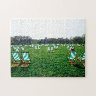 Deck Chairs Spread Out In Green Park, London Jigsaw Puzzle