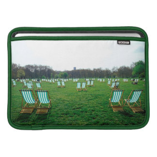 Deck Chairs Spread Out In Green Park, London MacBook Sleeve