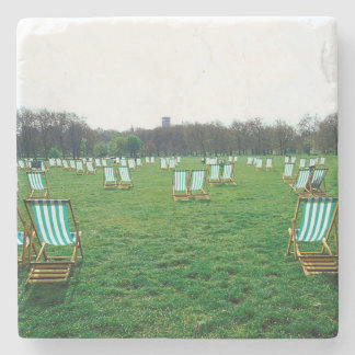 Deck Chairs Spread Out In Green Park, London Stone Coaster