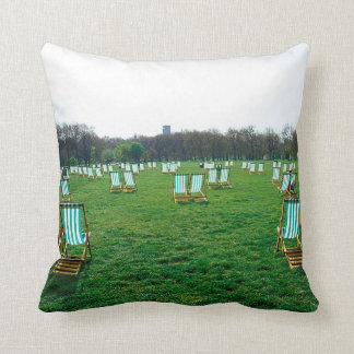 Deck Chairs Spread Out In Green Park, London Throw Pillow