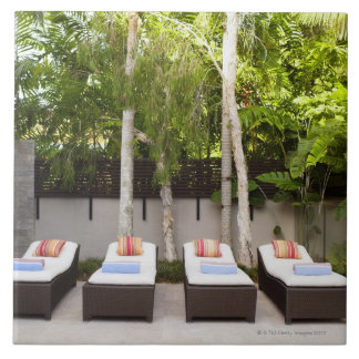 Deck Chairs Tropical House Large Square Tile