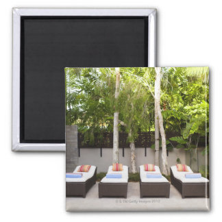 Deck Chairs Tropical House Square Magnet