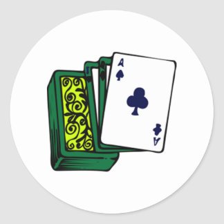 Deck of Cards Round Stickers