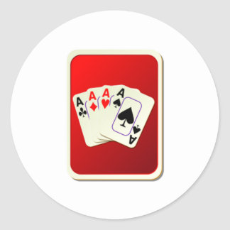 Deck of Playing Cards Round Sticker