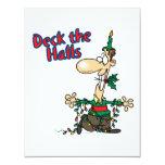 deck the halls funny christmas cartoon 11 cm x 14 cm invitation card