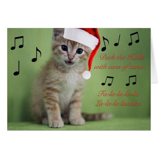Deck the Halls Kitten Christmas Card