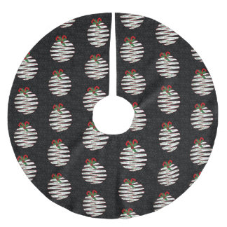 Deck the Halls Origami Themed Black and White Brushed Polyester Tree Skirt