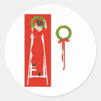 Deck the Halls Round Sticker