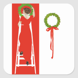 Deck The Halls With Boughs of Holly for Christmas Square Sticker