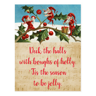 Deck the halls with boughs of holly postcard