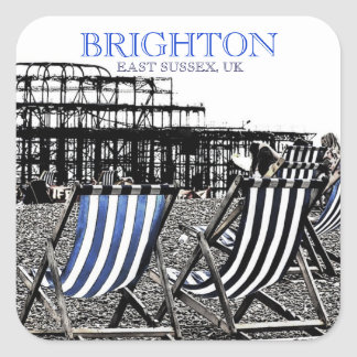 Deckchairs on Brighton Beach, (UK) Sticker