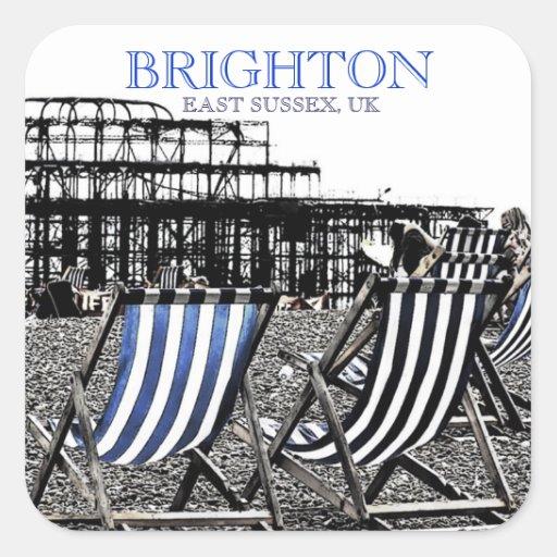 Deckchairs on Brighton Beach, (UK) Sticker
